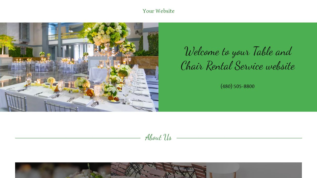 example 1 table and chair rental service website template godaddy. Black Bedroom Furniture Sets. Home Design Ideas